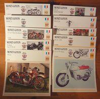 Moto Monet Goyon, 10 Fiches Illustrées De Ces Motos Françaises De 1923 à 1959. - Sports