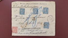 Type Semeuse Lignée Et Mouchon Affranchissement 1,15 F  Sur Lettre Chargé Valeur Déclarée 1000 F Bordeaux 1904 - Postmark Collection (Covers)