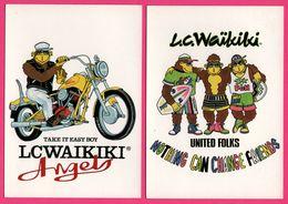 2 Cp - Publicité - Monkey - Singe - Lc Waïkiki - Angels - Harley Davidson - Moto - Surf - Monos