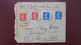 Type Semeuse Affranchissement 70ct  Sur Lettre Chargé Valeur Déclarée Bordeaux  400 F En Poste Restante Vic Sur Seille - Postmark Collection (Covers)