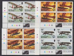 Falkland Islands 1983 Bicentenary Of Manned Flight  4v  Bl Of 4 (corner) ** Mnh (41777) - Falklandeilanden