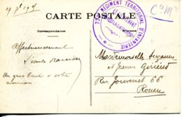 N°67619 -cachet 222è  Régiment Territorial D'infanterie- - Militaria
