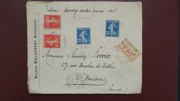 Type Semeuse Affranchissement 70 Ct  Sur Lettre Chargé Valeur Déclarée Bordeaux 1200 F Pour Amiens 1912 - Postmark Collection (Covers)