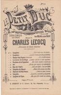 Le Petit Duc  N°12  Rondeau De La Paysanne Chanté Par Mlle J.Granier  Ch. Lecocq  Ed. C.Joubert & Cie TBE - Partitions Musicales Anciennes