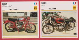 """Moto Follis, 2 Fiches Illustrées De Ces Motos Françaises, Une Safo 175 De 1954 Et Une 175 """"Gnome & Rhône"""" De 1956. - Sports"""
