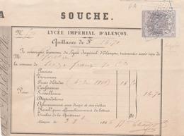 Alençon : Quittance Du Lycée Impérial Pour Frais D'Etudes  (superbe Timbre Fiscal Bord De Feuille.) - Diplômes & Bulletins Scolaires