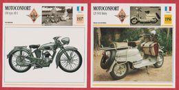 Moto Motoconfort, 2 Fiches Illustrées De Ces Motos Françaises, Une 100 Type AB1 De 1937 Et Une 125 SVH Moby De 1956. - Sports