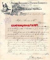 ALGERIE- SETIF- RRE LETTRE MANUSCRITE GRANDE BRASSERIE & TAVERNE GAMBRINUS-ANCIEN CAFE DE FRANCE-BIERE MAXEVILLE-1910 - Factures & Documents Commerciaux