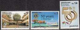 MAURITIUS, 2018, MNH,ANNIVERSARIES , LIONS, BOATS, TREES, DIPLOMATIC RELATIONS WITH RUSSIA, HINDU SCHOOL, EDUCATION,3v - Rotary, Lions Club