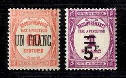 France Timbre Taxe YT N° 63 Et 65 Neufs ** MNH. Gommes D'origine. TB. A Saisir! - Taxes