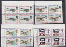 Falkland Islands 1969 Government Air Service 4v Bl Of 4 ** Mnh (41477G) - Falklandeilanden
