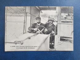 CPA A GAND AVIATION  AVIATEUR HENRI FARMAN A BORD DE SON BIPLAN AVEC M.ARCHDEACON - Aviatori