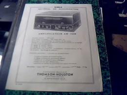 Publicité  Affiche 21 X  28 Cm Env.  Materiel De Sonorisation THOMSON   HOUSTON  Aplificateur AM 1008 Annee 0 - Publicités