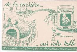 BUVARD LES PETITS LUTINS SUPERLUTINS DE LA CARRIERE SUR LA TABLE 21 X 13.5 CM  / VERT / RARE - Alimentaire
