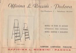 DEPLIANT Pubblicitario OFFICINA L. ROSSINI Di Padova - Mobili In Tubo E Lampade - Publicités