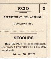 Ardennes. Bon De Pain Valable Du 14 Au 20 Juin1920 - 1914-18