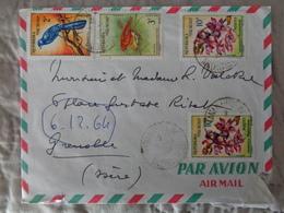 MADAGADCAR 1964 LETTRE AVEC 4 TIMBRES - Madagascar (1960-...)