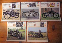 Moto Kœhler Escoffier, 5 Fiches Illustrées De Ces Motos Françaises De 1914 à 1935. - Sports