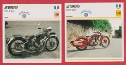 Moto Automoto, 2 Fiches Illustrées De Ces Motos Françaises. Une 500 A 30 Sport De 1933 Et Une 250 Cm3 Stayer De 1950. - Sports