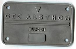 H51 PLAQUE DE LOCOMOTIVE ALSTHOM CHEMIN DE FER  SNCF 135x220x5 MM BELFORT FRANCHE COMTE - Chemin De Fer