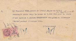 Le Soldat Noêl Reconnait Avoir Reçu 5000f Pour Une Machine à écrire Récupérée ??? En Sarre Occupée - Documents