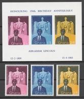 Ghana 1959 Mi# 39-41+ Bl.1** LINCOLN'S BIRTH 150th ANNIV. - Ghana (1957-...)