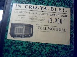 Publicité   Tract TSF Radio POSTE     RECEPTEUR  6 Lampes TELEMONDIAL Année 50 - Publicités
