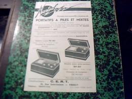 Publicité   TSF Radio  Portatif A Piles Mixte CERT Constructeurs A Paris Rue St Lazare  Dumonier Revendeur Graulhet Tarn - Publicités