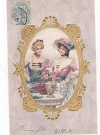 CPA 2 Femmes Bourgeoises En Robe - Art Nouveau 1904 - Femmes