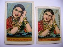 Czechoslovakia: 2x Old Matchbox Label - GAUHAR JAN Of India - Solo Works - Matchbox Labels