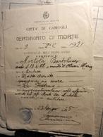 8d) CAMOGLI CERTIFICATO DI MORTE PER AFFONDAMENTO IN MARE PIROSCAFO SAN MICHELE 1921 EMESSO 1945 - Bateaux