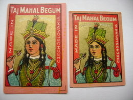 Czechoslovakia: 2x Old Matchbox Label - TAJ MAHAL BEGUM India - Solo Works - Matchbox Labels