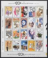 Belgium - Belgique (1999) Yv. 2855/74 /  Mandela - Pope - Luther King - Beatles - Gandhi - Lenin - Chaplin - Tintin - Nobelprijs