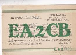 SA2CB ESPAÑA CIRCULEE 1949 A VENEZIA ITALIA, SIGNEE. QSL CARD RADIO HAM - BLEUP - Radio-amateur