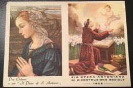 """Antico Santino Doppio Holy Card """" S.ANTONIO Con Calendario 1959 """" - Godsdienst & Esoterisme"""