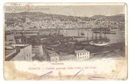 Tarjeta Postal. Italia. Genova. Vista General Con El Puerto. Panorama. Sello Y Matasellos. - Genova (Genoa)