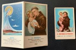 "Antico Santino Doppio Holy Card "" S.ANTONIO Con Calendario 1967 "" - Religion & Esotérisme"