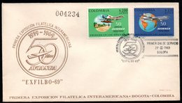 COLOMBIA- KOLUMBIEN - 1969.FDC/SPD. AVIATION - 50 YEARS OF AVIANCA AIRLINE, AND FIRST POSTAL FLIGHT 1919-1969 - Colombia