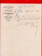 FACTURE (Réf : D333) BRASSERIE FRANÇAISE GLAÇIÈRE Limonade Gazeuse & EAUX DE SELTZ JH. FANEUIL LIBOURNE - 1800 – 1899