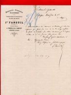 FACTURE (Réf : D334) BRASSERIE FRANÇAISE GLAÇIÈRE Limonade Gazeuse & EAUX DE SELTZ JH. FANEUIL LIBOURNE - 1800 – 1899