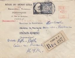 LETTRE.  27 AVRIL 1956. RECOMMANDÉ PARIS POUR MOUSTIER. CHARLES TELLIER 15F + EMA PARIS 1 0,35F. REDIRIGEE AIX  / 2 - 1921-1960: Periodo Moderno