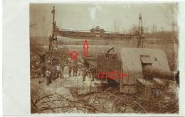 Dicke Bertha  ?  Artillerie Eisenbahngeschütz Deutsche Soldaten Aufbau ( 1-3 ) Allemande  Photo Carte-guerre 14 -18 - Guerre 1914-18