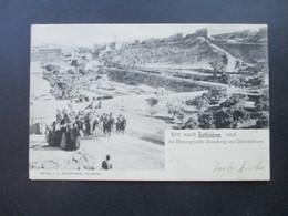 AK 1903 Russland Levante Ritt Nach Bethlehem Marke Mit Rotem Aufdruck! Violette Stempel. Ak Stempel Schweiz Widna - Levante