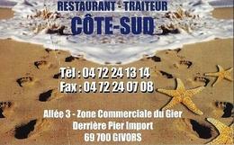 *Carte Visite Restaurant - Côté Sud à Givors (69) - Cartes De Visite
