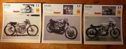 Moto Nougier, 3 Fiches Illustrées De Ces Motos Françaises. Une 250 Tournevis, Une 500 Cm3 G Prix Et Une 250 Bicylindre. - Sports