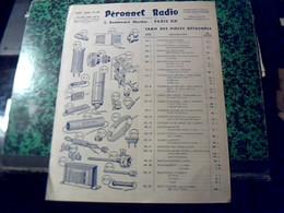 Publicité   Accessoire Tsf Postes A Lampe Platine..PERONNET  RADIO  Bd Mortier Paris Annee 1947 - Publicités