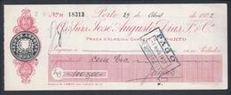 Cheque Da Casa Bancária Do Porto José Augusto Dias Fº & Cª. Pago Em 1922.Check Of The Bank House José Augusto Dias Fº & - Chèques & Chèques De Voyage