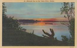 Alaska Midnight Sun On The Yukon River Curteich - United States