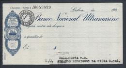 Check Of Banco Nacional Ultramarino, Lisbon, 1940. Branches In China, India And Timor. Rare - Chèques & Chèques De Voyage
