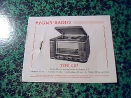 Publicité   Tsf Postes A Piles Radiophone  PYGMY RADIO  Type CS7et S7 Annee 50 - Publicités